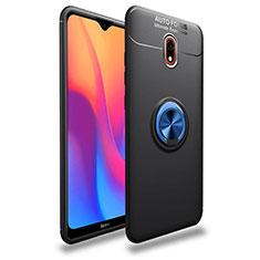 Silikon Hülle Handyhülle Ultra Dünn Schutzhülle Tasche Silikon mit Magnetisch Fingerring Ständer A04 für Xiaomi Redmi 8A Blau und Schwarz