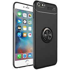 Silikon Hülle Handyhülle Ultra Dünn Schutzhülle Tasche Silikon mit Magnetisch Fingerring Ständer für Apple iPhone 6S Plus Schwarz