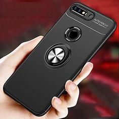 Silikon Hülle Handyhülle Ultra Dünn Schutzhülle Tasche Silikon mit Magnetisch Fingerring Ständer für Huawei Enjoy 8 Plus Schwarz