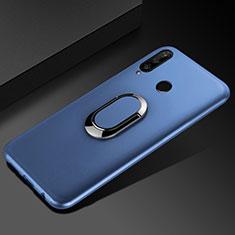 Silikon Hülle Handyhülle Ultra Dünn Schutzhülle Tasche Silikon mit Magnetisch Fingerring Ständer für Huawei Enjoy 9s Blau
