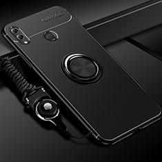 Silikon Hülle Handyhülle Ultra Dünn Schutzhülle Tasche Silikon mit Magnetisch Fingerring Ständer für Huawei Honor 10 Lite Schwarz