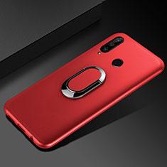 Silikon Hülle Handyhülle Ultra Dünn Schutzhülle Tasche Silikon mit Magnetisch Fingerring Ständer für Huawei Honor 20 Lite Rot