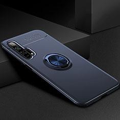 Silikon Hülle Handyhülle Ultra Dünn Schutzhülle Tasche Silikon mit Magnetisch Fingerring Ständer für Huawei Honor 20 Pro Blau