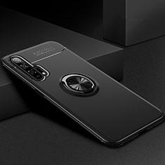 Silikon Hülle Handyhülle Ultra Dünn Schutzhülle Tasche Silikon mit Magnetisch Fingerring Ständer für Huawei Honor 20 Pro Schwarz