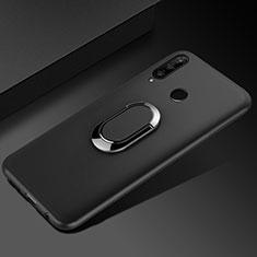 Silikon Hülle Handyhülle Ultra Dünn Schutzhülle Tasche Silikon mit Magnetisch Fingerring Ständer für Huawei Honor 20i Schwarz