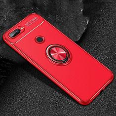 Silikon Hülle Handyhülle Ultra Dünn Schutzhülle Tasche Silikon mit Magnetisch Fingerring Ständer für Huawei Honor 9 Lite Rot