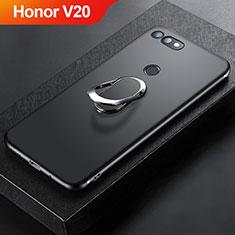 Silikon Hülle Handyhülle Ultra Dünn Schutzhülle Tasche Silikon mit Magnetisch Fingerring Ständer für Huawei Honor V20 Schwarz