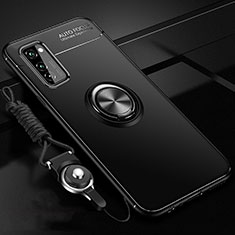 Silikon Hülle Handyhülle Ultra Dünn Schutzhülle Tasche Silikon mit Magnetisch Fingerring Ständer für Huawei Honor View 30 5G Schwarz