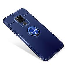 Silikon Hülle Handyhülle Ultra Dünn Schutzhülle Tasche Silikon mit Magnetisch Fingerring Ständer für Huawei Mate 20 Blau