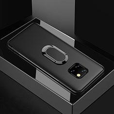 Silikon Hülle Handyhülle Ultra Dünn Schutzhülle Tasche Silikon mit Magnetisch Fingerring Ständer für Huawei Mate 20 Pro Schwarz