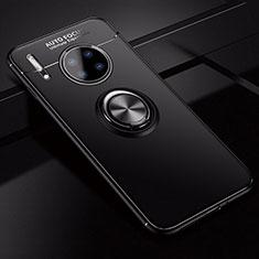 Silikon Hülle Handyhülle Ultra Dünn Schutzhülle Tasche Silikon mit Magnetisch Fingerring Ständer für Huawei Mate 30 5G Schwarz