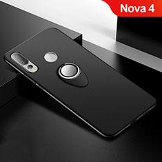 Silikon Hülle Handyhülle Ultra Dünn Schutzhülle Tasche Silikon mit Magnetisch Fingerring Ständer für Huawei Nova 4 Schwarz