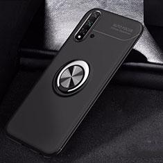 Silikon Hülle Handyhülle Ultra Dünn Schutzhülle Tasche Silikon mit Magnetisch Fingerring Ständer für Huawei Nova 5 Schwarz