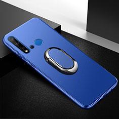 Silikon Hülle Handyhülle Ultra Dünn Schutzhülle Tasche Silikon mit Magnetisch Fingerring Ständer für Huawei Nova 5i Blau