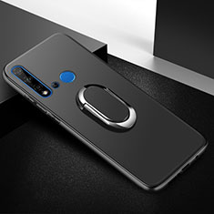 Silikon Hülle Handyhülle Ultra Dünn Schutzhülle Tasche Silikon mit Magnetisch Fingerring Ständer für Huawei Nova 5i Schwarz