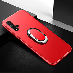 Silikon Hülle Handyhülle Ultra Dünn Schutzhülle Tasche Silikon mit Magnetisch Fingerring Ständer für Huawei Nova 5T Rot