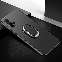 Silikon Hülle Handyhülle Ultra Dünn Schutzhülle Tasche Silikon mit Magnetisch Fingerring Ständer für Huawei Nova 5T Schwarz