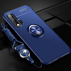 Silikon Hülle Handyhülle Ultra Dünn Schutzhülle Tasche Silikon mit Magnetisch Fingerring Ständer für Huawei Nova 6 5G Blau