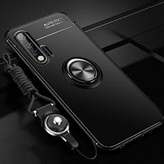 Silikon Hülle Handyhülle Ultra Dünn Schutzhülle Tasche Silikon mit Magnetisch Fingerring Ständer für Huawei Nova 6 Schwarz