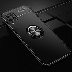 Silikon Hülle Handyhülle Ultra Dünn Schutzhülle Tasche Silikon mit Magnetisch Fingerring Ständer für Huawei Nova 6 SE Schwarz