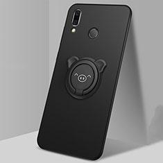 Silikon Hülle Handyhülle Ultra Dünn Schutzhülle Tasche Silikon mit Magnetisch Fingerring Ständer für Huawei P Smart (2019) Schwarz