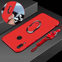 Silikon Hülle Handyhülle Ultra Dünn Schutzhülle Tasche Silikon mit Magnetisch Fingerring Ständer für Huawei P Smart+ Plus Rot