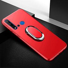Silikon Hülle Handyhülle Ultra Dünn Schutzhülle Tasche Silikon mit Magnetisch Fingerring Ständer für Huawei P20 Lite (2019) Rot