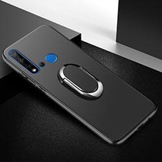 Silikon Hülle Handyhülle Ultra Dünn Schutzhülle Tasche Silikon mit Magnetisch Fingerring Ständer für Huawei P20 Lite (2019) Schwarz