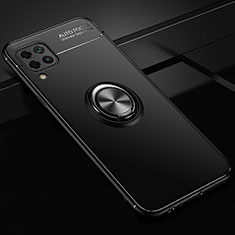 Silikon Hülle Handyhülle Ultra Dünn Schutzhülle Tasche Silikon mit Magnetisch Fingerring Ständer für Huawei P40 Lite Schwarz
