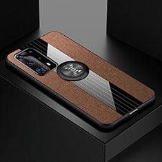 Silikon Hülle Handyhülle Ultra Dünn Schutzhülle Tasche Silikon mit Magnetisch Fingerring Ständer für Huawei P40 Pro+ Plus Braun