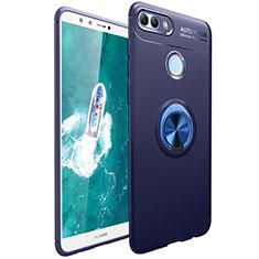 Silikon Hülle Handyhülle Ultra Dünn Schutzhülle Tasche Silikon mit Magnetisch Fingerring Ständer für Huawei Y9 (2018) Blau