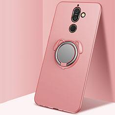 Silikon Hülle Handyhülle Ultra Dünn Schutzhülle Tasche Silikon mit Magnetisch Fingerring Ständer für Nokia 7 Plus Rosegold