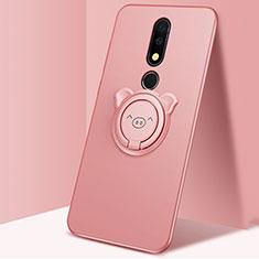 Silikon Hülle Handyhülle Ultra Dünn Schutzhülle Tasche Silikon mit Magnetisch Fingerring Ständer für Nokia X5 Rosegold