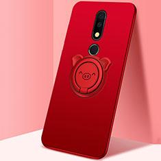 Silikon Hülle Handyhülle Ultra Dünn Schutzhülle Tasche Silikon mit Magnetisch Fingerring Ständer für Nokia X5 Rot