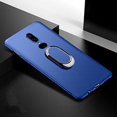 Silikon Hülle Handyhülle Ultra Dünn Schutzhülle Tasche Silikon mit Magnetisch Fingerring Ständer für OnePlus 6T Blau