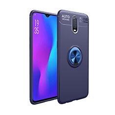 Silikon Hülle Handyhülle Ultra Dünn Schutzhülle Tasche Silikon mit Magnetisch Fingerring Ständer für OnePlus 7 Blau