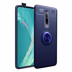 Silikon Hülle Handyhülle Ultra Dünn Schutzhülle Tasche Silikon mit Magnetisch Fingerring Ständer für OnePlus 7 Pro Blau