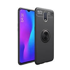 Silikon Hülle Handyhülle Ultra Dünn Schutzhülle Tasche Silikon mit Magnetisch Fingerring Ständer für OnePlus 7 Schwarz