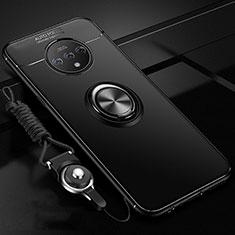 Silikon Hülle Handyhülle Ultra Dünn Schutzhülle Tasche Silikon mit Magnetisch Fingerring Ständer für OnePlus 7T Schwarz