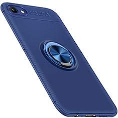Silikon Hülle Handyhülle Ultra Dünn Schutzhülle Tasche Silikon mit Magnetisch Fingerring Ständer für Oppo A3 Blau