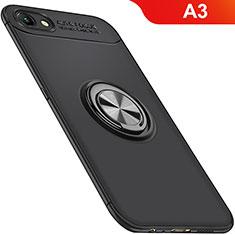Silikon Hülle Handyhülle Ultra Dünn Schutzhülle Tasche Silikon mit Magnetisch Fingerring Ständer für Oppo A3 Schwarz