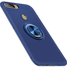Silikon Hülle Handyhülle Ultra Dünn Schutzhülle Tasche Silikon mit Magnetisch Fingerring Ständer für Oppo A7 Blau