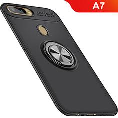 Silikon Hülle Handyhülle Ultra Dünn Schutzhülle Tasche Silikon mit Magnetisch Fingerring Ständer für Oppo A7 Schwarz