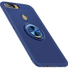 Silikon Hülle Handyhülle Ultra Dünn Schutzhülle Tasche Silikon mit Magnetisch Fingerring Ständer für Oppo AX7 Blau