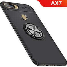 Silikon Hülle Handyhülle Ultra Dünn Schutzhülle Tasche Silikon mit Magnetisch Fingerring Ständer für Oppo AX7 Schwarz