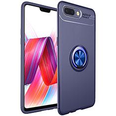Silikon Hülle Handyhülle Ultra Dünn Schutzhülle Tasche Silikon mit Magnetisch Fingerring Ständer für Oppo R17 Neo Blau