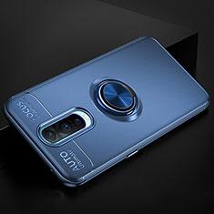 Silikon Hülle Handyhülle Ultra Dünn Schutzhülle Tasche Silikon mit Magnetisch Fingerring Ständer für Oppo R17 Pro Blau