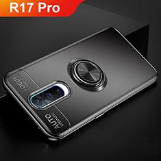 Silikon Hülle Handyhülle Ultra Dünn Schutzhülle Tasche Silikon mit Magnetisch Fingerring Ständer für Oppo R17 Pro Schwarz