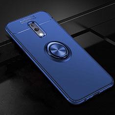 Silikon Hülle Handyhülle Ultra Dünn Schutzhülle Tasche Silikon mit Magnetisch Fingerring Ständer für Oppo Realme X Blau