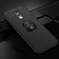 Silikon Hülle Handyhülle Ultra Dünn Schutzhülle Tasche Silikon mit Magnetisch Fingerring Ständer für Oppo Realme X Schwarz